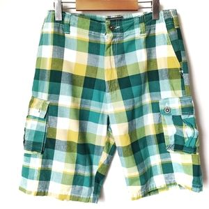 National Outfitters Green Plaid Cargo Shorts 34